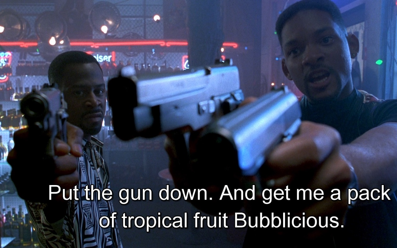 Bubblicious tropical fruit bubble gum – Bad Boys (1995) Movie Product Placement
