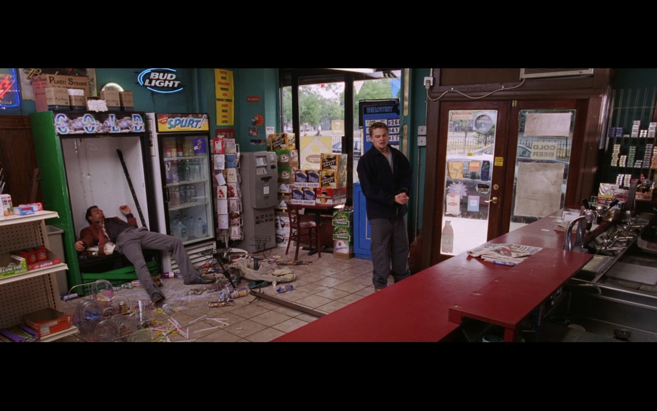 Bud Light Neon Sign And Heineken Boxes – The Departed (2006) Movie Product Placement