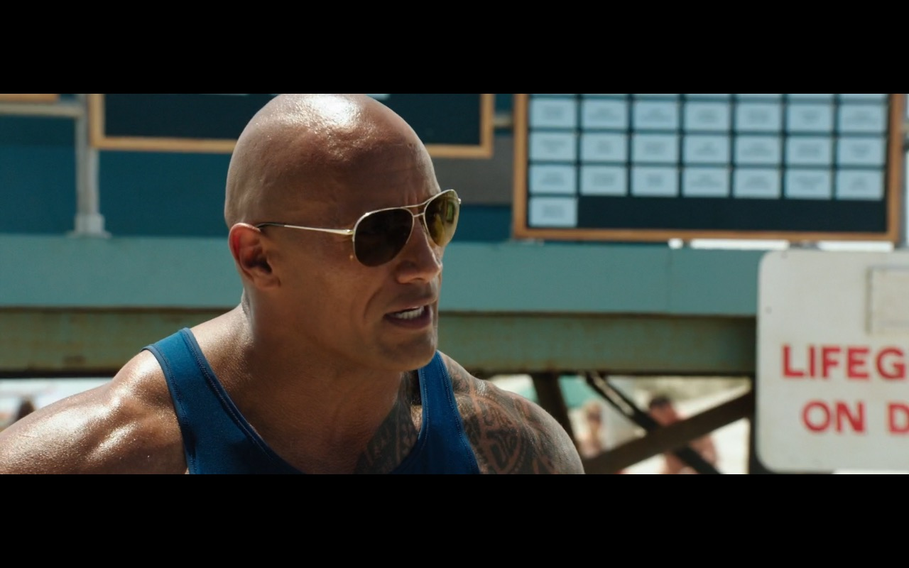 Ray-Ban Aviator RB3025 Sunglasses worn by Dwayne Douglas Johnson (The Rock) in Baywatch (2017) Movie Product Placement