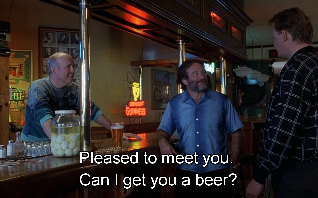Guinness Beer Sign And  Perrier Water (Quotes) – Good Will Hunting (1997) Movie Product Placement