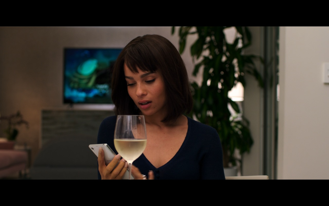 White Sony Xperia Phone Used by Zoë Kravitz in Rough Night (2017) Movie Product Placement