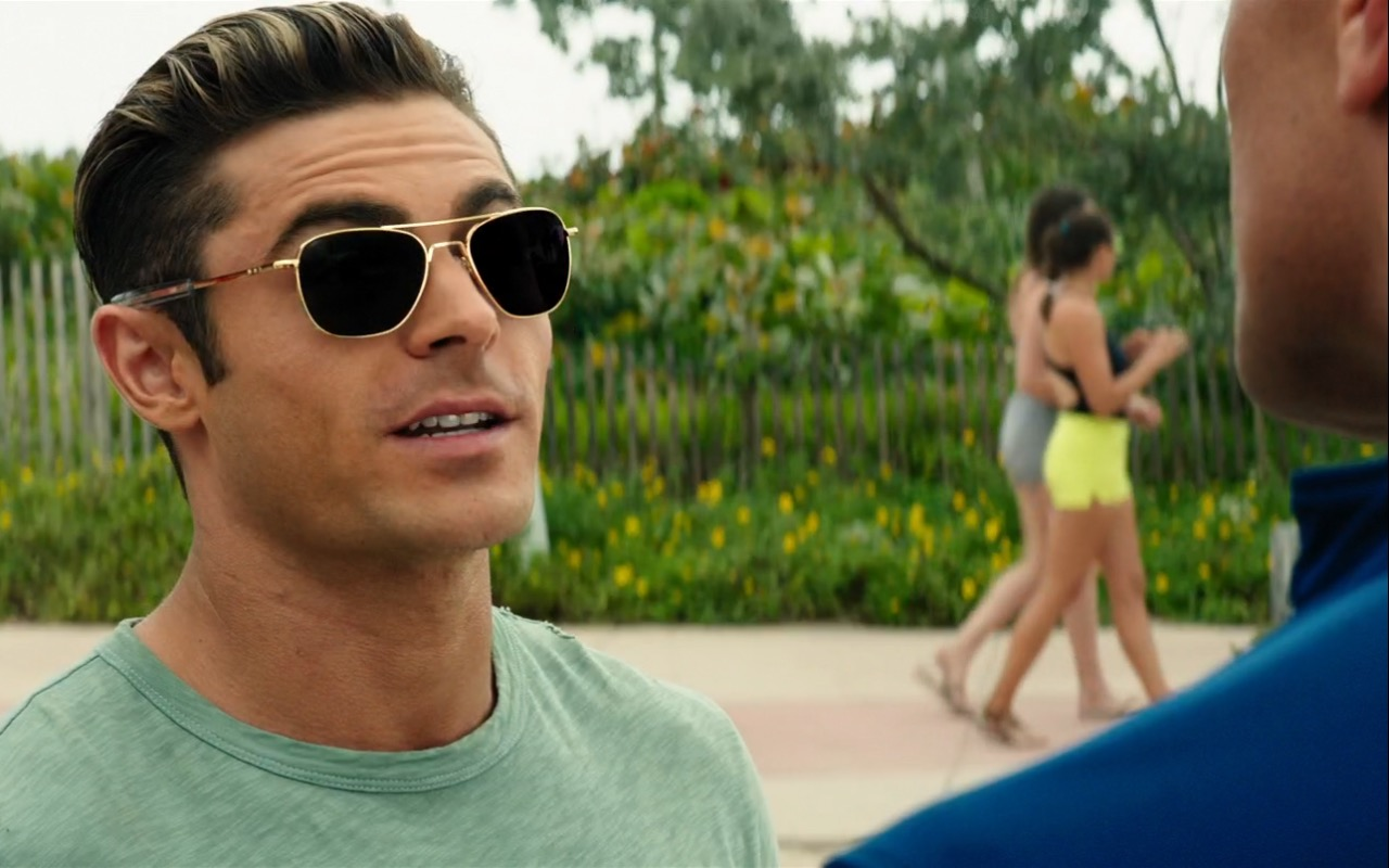 d690260a69bee Randolph Aviator Sunglasses and Zac Efron – Baywatch (2017) Movie Product  Placement