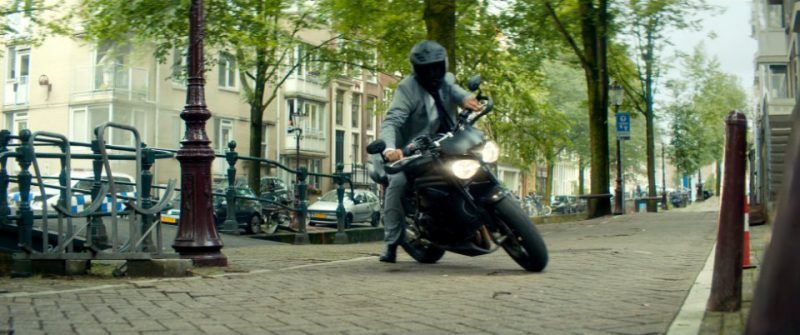 Triumph Speed Triple Motorcycle Driven by Ryan Reynolds in The Hitman's Bodyguard (2017) Movie Product Placement