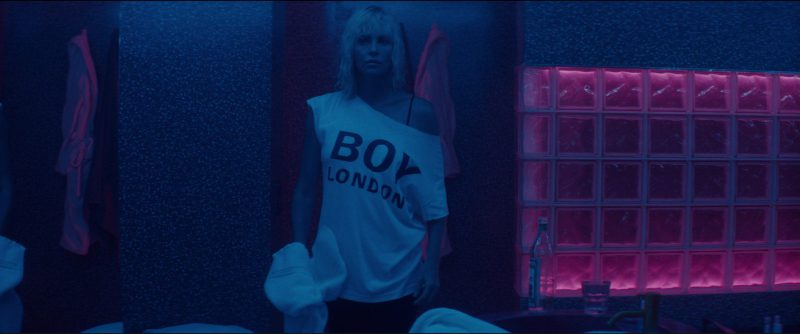 BOY London T-Shirt Worn by Charlize Theron in Atomic Blonde (2017) Movie Product Placement