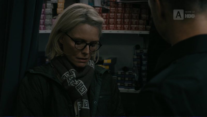 Fendi FF Logo Scarf Worn by Michelle Pfeiffer (Ruth Madoff) in The Wizard of Lies (2017) Movie Product Placement