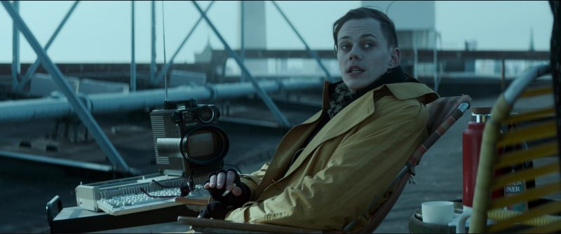 Sharp Portable TV Used by Bill Skarsgård in Atomic Blonde (2017) Movie Product Placement