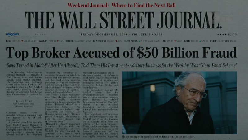 The Wall Street Journal (Newspaper) in The Wizard of Lies (2017) Movie Product Placement