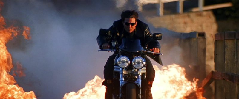 Triumph Speed Triple 955i motorcycle riden by Tom Cruise in MISSION: IMPOSSIBLE II (2000) Movie Product Placement