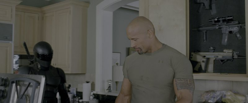 Under Armour Military Green T-Shirt Worn by Dwayne Johnson in G.I. Joe: Retaliation (2013) Movie Product Placement