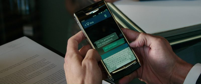 AT&T and Vertu Signature Touch Smartphone Used by Jamie Dornan in Fifty Shades Darker (2017) Movie Product Placement
