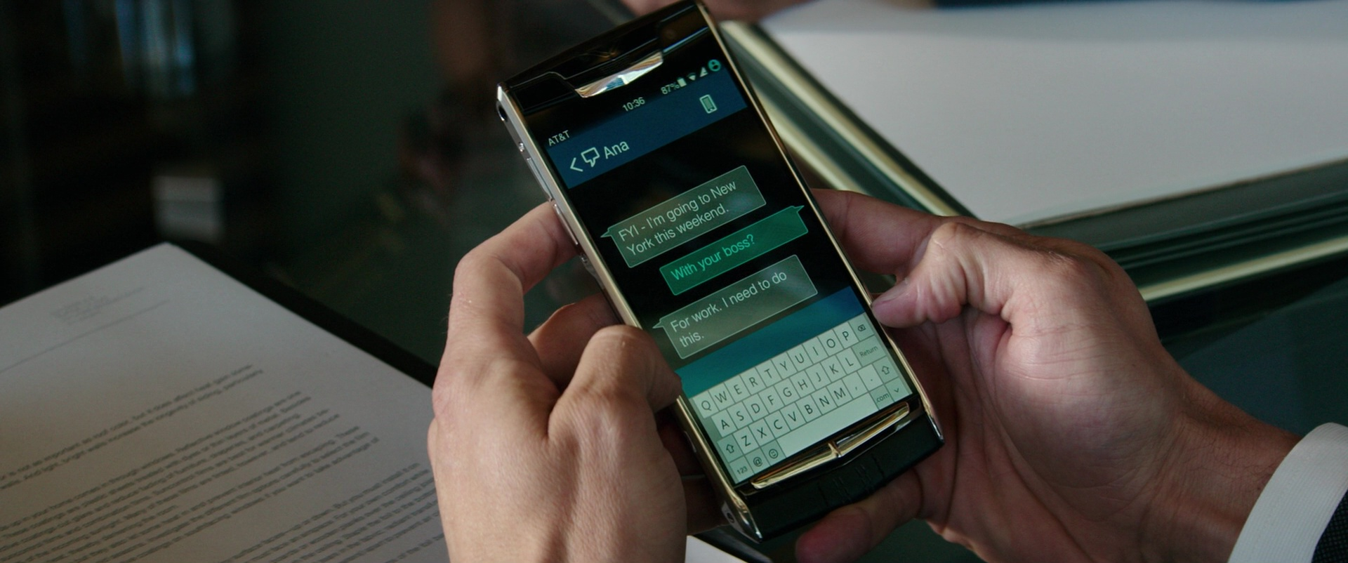 Audi A3 2008 >> AT&T and Vertu Signature Touch Smartphone Used by Jamie Dornan in Fifty Shades Darker (2017) Movie