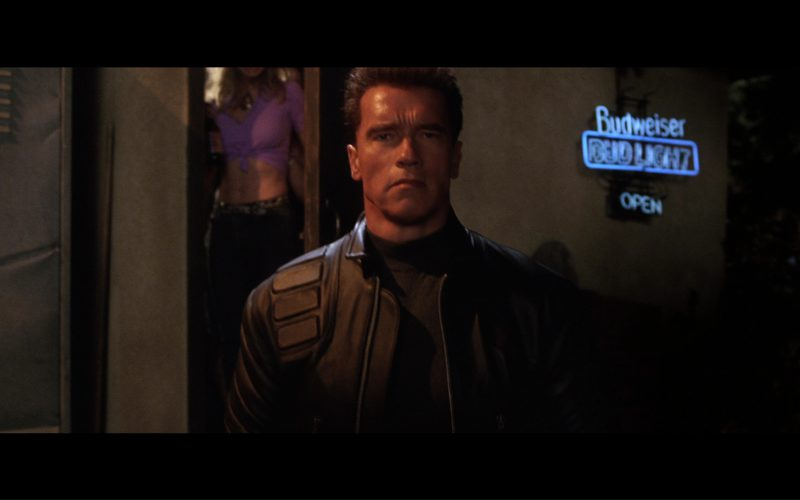 Budweiser Bud Light Blue Neon Sign in Terminator 3 Rise of the Machines (2003)