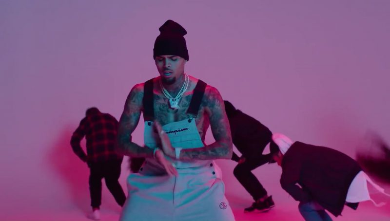 Champion Men's Overalls (White) in Flipmode by Fabolous, Velous, Chris Brown (2017) Official Music Video Product Placement