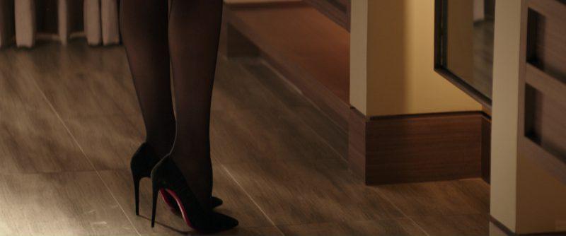 Christian Louboutin Follie Draperia Chiffon Red Sole Pump Shoes (Black) Worn by Dakota Johnson (Anastasia Steele) in Fifty Shades Darker (2017) Movie Product Placement