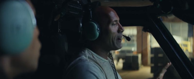 David Clark Pilot Headsets Worn by Dwayne Johnson (The Rock) in Rampage (2018) Movie Product Placement