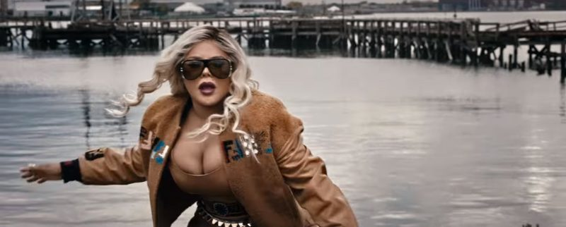 Fendi Embroidered Bomber Jacket And Chanel Sunglasses Worn by Lil' Kim in Wake Me Up by Remy Ma (2017) - Official Music Video Product Placement