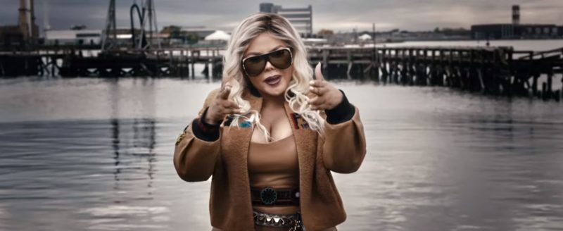 Fendi Embroidered Bomber Jacket And Chanel Sunglasses Worn by Lil' Kim in Wake Me Up by Remy Ma (2017) Official Music Video Product Placement