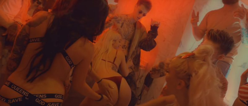 God Save Queens Luxury Lingerie Worn by Model in Golden God by Machine Gun Kelly (2017) - Official Music Video Product Placement