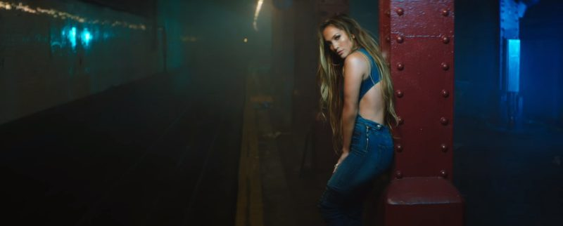 Guess Denim Jumpsuit Worn by Jennifer Lopez in Amor, Amor, Amor (2017) Official Music Video Product Placement