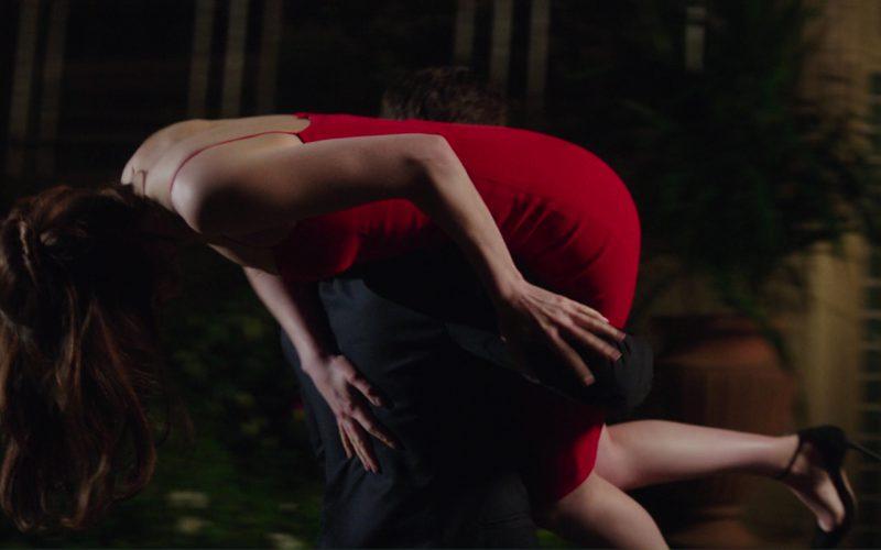 Narciso Rodriguez Texture Wool & Crêpe Bustier Dress (Red) Worn by Dakota Johnson (Anastasia Steele) in Fifty Shades Darker (4)
