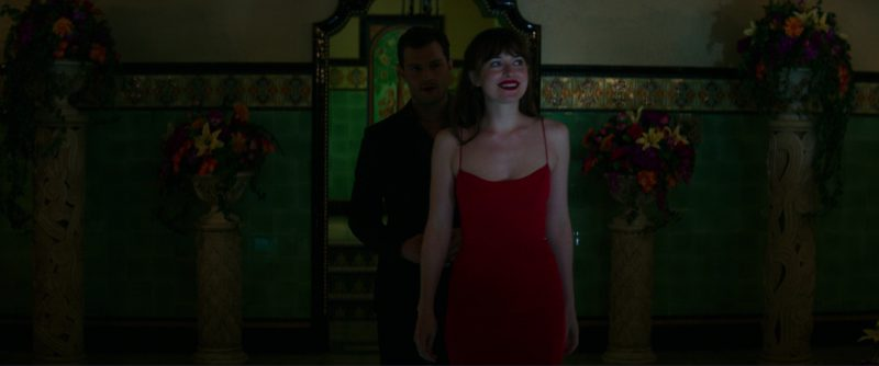 Narciso Rodriguez Texture Wool & Crêpe Bustier Dress (Red) Worn by Dakota Johnson (Anastasia Steele) in Fifty Shades Darker (2017) - Movie Product Placement
