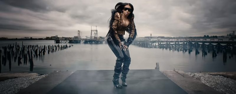 Ronald van der Kemp Jacket, Top Shop Pants, Tom Ford Boots, Victoria's Secret Bra, Balmain Earrings and  YSL Sunglasses Worn by Remy Ma in Wake Me Up (2017) Official Music Video Product Placement