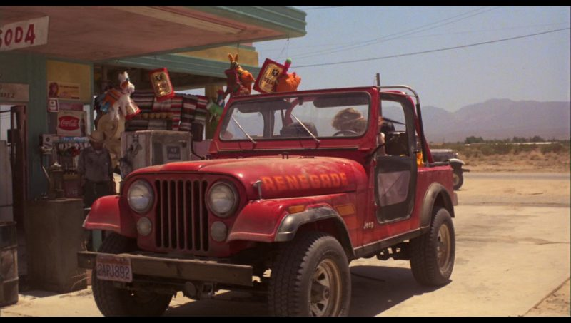 Tecate Beer and Coca-Cola Signs and Jeep CJ-7 SUV Used by Linda Hamilton in The Terminator (1984) - Movie Product Placement