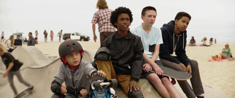 Triple 8 Skateboarding Helmets Worn by Kids in Once Upon a Time in Venice (2017) - Movie Product Placement