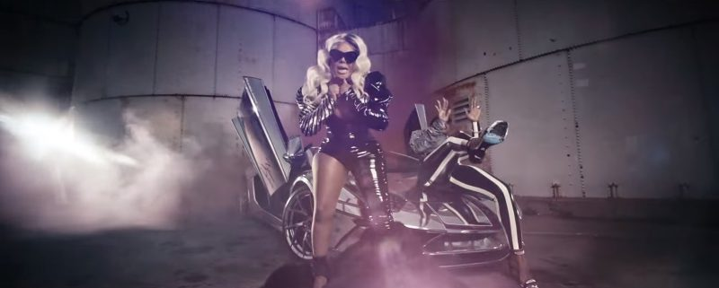 YSL Outfit and Dsquared2 High Heel Sandals Worn by Lil' Kim in Wake Me Up by Remy Ma (2017) - Official Music Video Product Placement