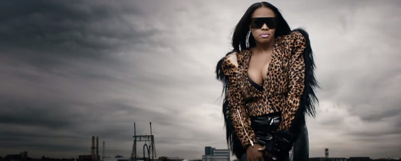 YSL Sunglasses, Victoria's Secret Bra, Balmain Earrings And Ronald van der Kemp Leopard Print Jacket Worn by Remy Ma in Wake Me Up (2017) - Official Music Video Product Placement