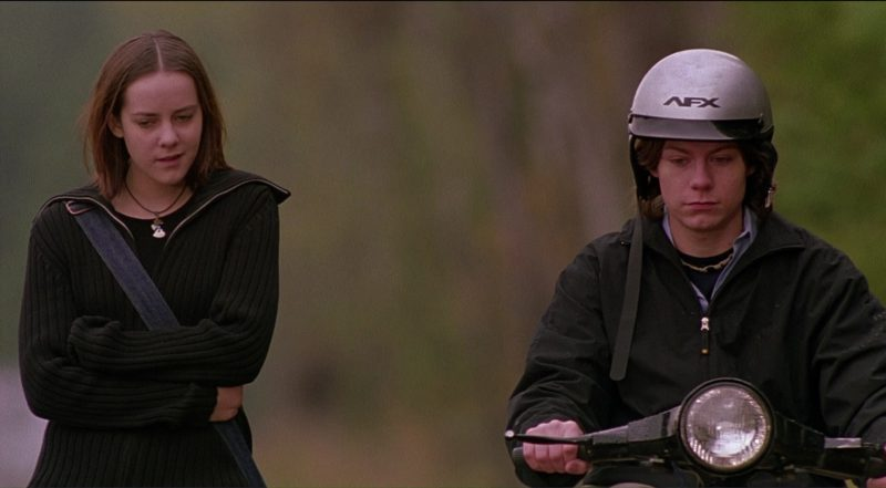 AFX Helmets Used by Jena Malone and Patrick Fugit in Saved! (2004) Movie Product Placement