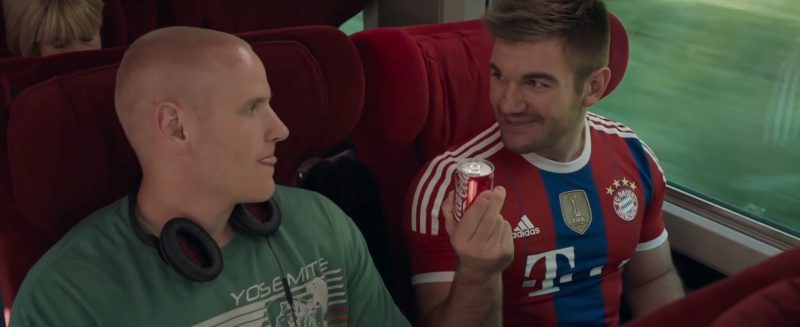 Coca-Cola And Adidas T-Shirt (FIFA and FC Bayern Munich) in The 15:17 to Paris (2018) - Movie Product Placement