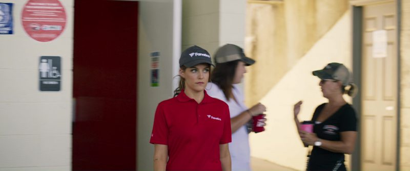 Fanatics Polo Shirt and Cap Worn By Riley Keough in Logan Lucky (2017) - Movie Product Placement
