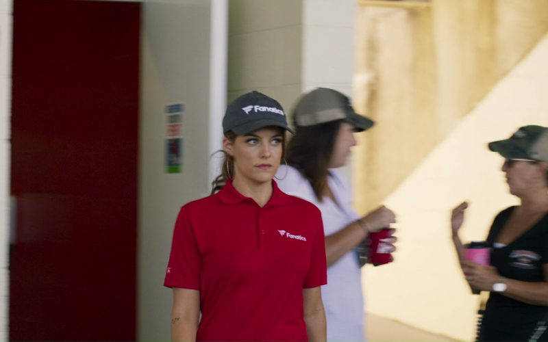 Fanatics Polo Shirt and Cap Worn By Riley Keough in Logan Lucky (1)