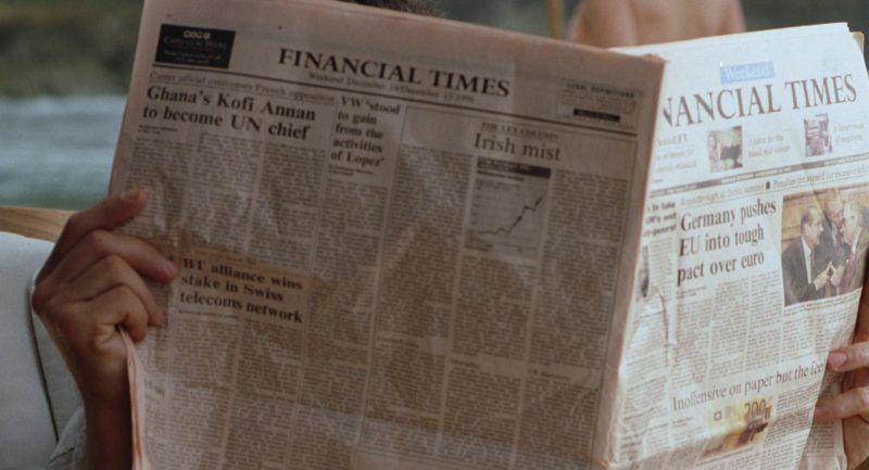 Financial Times Newspaper in The Lost World: Jurassic Park (1997) Movie Product Placement