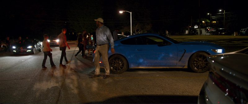 Ford Mustang Shelby GT350 Blue Sports Car Driven by Riley Keough in Logan Lucky (2017) Movie Product Placement