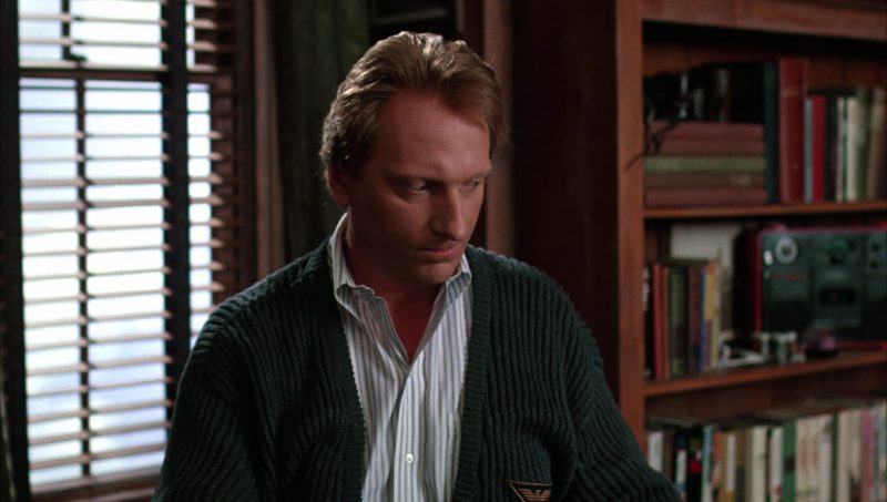 Giorgio Armani Green Cardigan Worn by Jeffrey Jones in Beetlejuice (1988) - Movie Product Placement