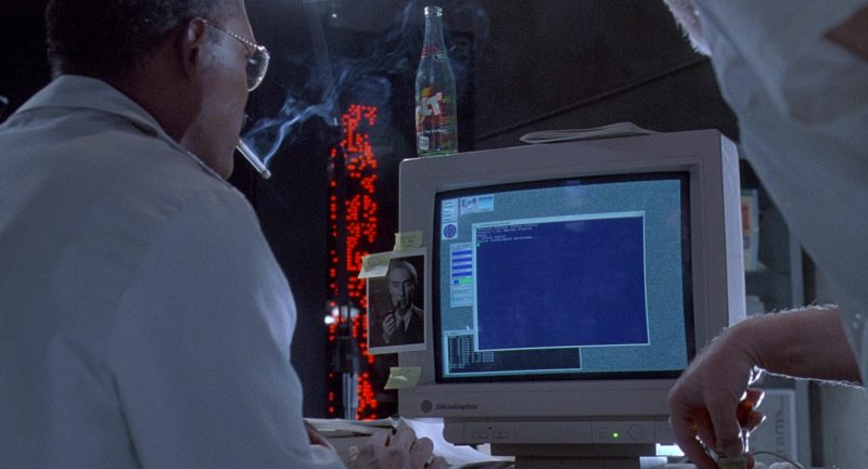 Jolt Cola and Silicon Graphics Monitor in Jurassic Park (1993) Movie Product Placement