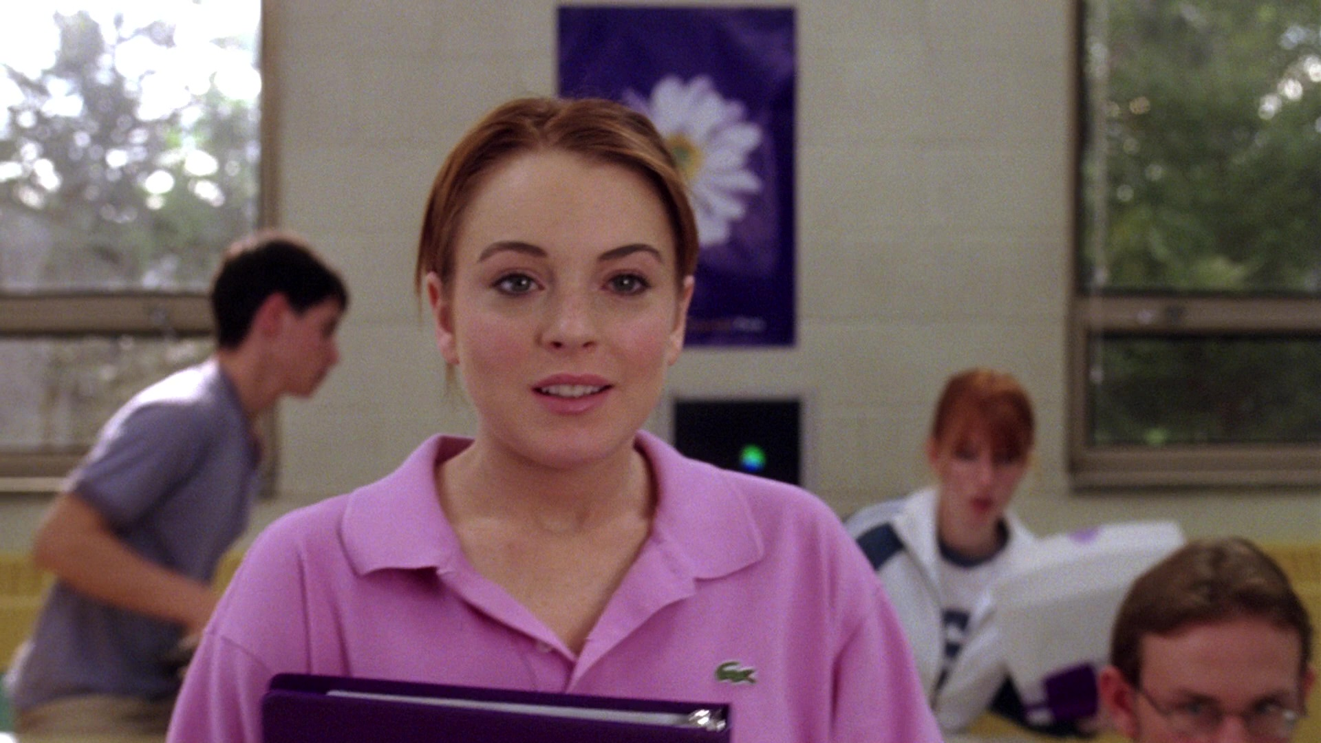 Lacoste pink polo shirt worn by lindsay lohan in mean for Polo shirt girl addiction