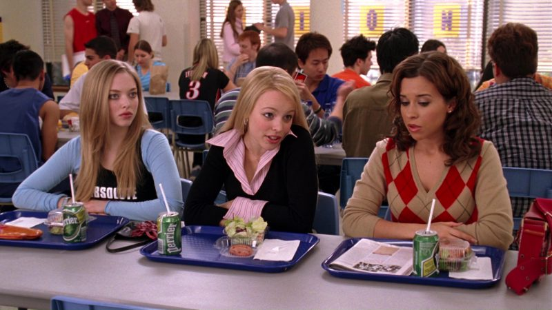 Perrier Water Enjoyed by Amanda Seyfried, Rachel McAdams and Lacey Chabert in Mean Girls (2004) - Movie Product Placement