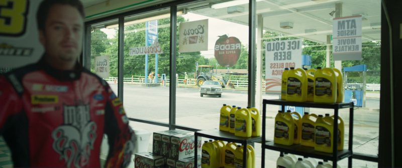 Prestone Antifreeze, Coors and Redd's Apple Ale Stickers in Logan Lucky (2017) Movie Product Placement
