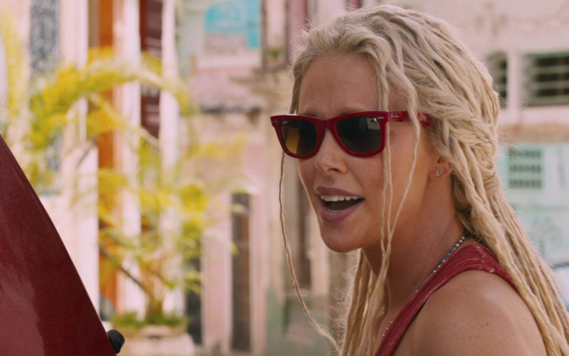 Ray-Ban Red Sunglasses Worn by Charlize Theron in The Fate of the Furious (1)