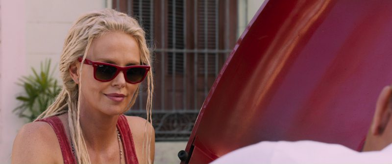 Ray-Ban Red Sunglasses Worn by Charlize Theron in The Fate of the Furious (2017) Movie Product Placement