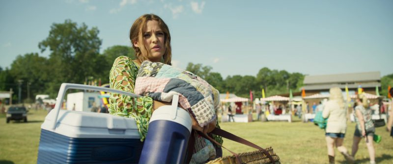 Rubbermaid Blue Cooler Used by Riley Keough in Logan Lucky (2017) Movie Product Placement