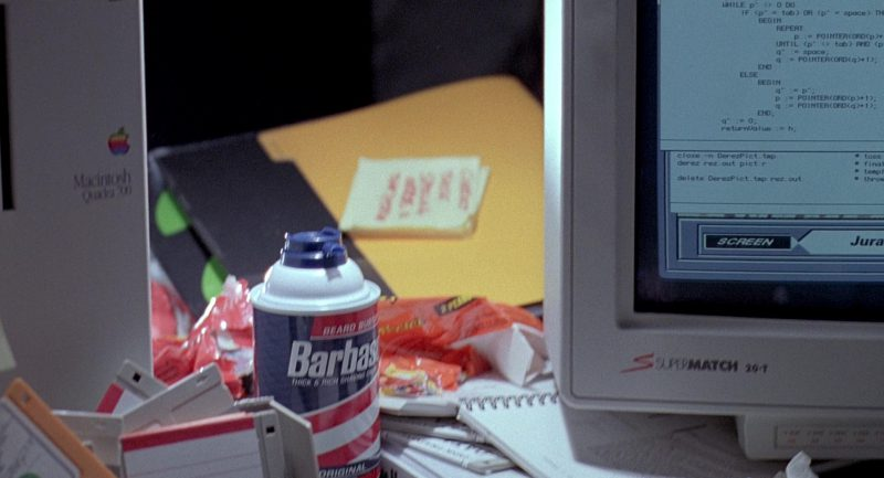 SuperMatch 20-T Monitor by SuperMac, Apple Macintosh Quadra 700 and Barbasol in Jurassic Park (1993) - Movie Product Placement