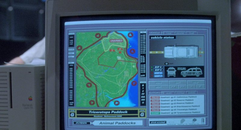 SuperMatch 20-T Monitor and Macintosh Quadra 700 Personal Computer in Jurassic Park (1993) - Movie Product Placement