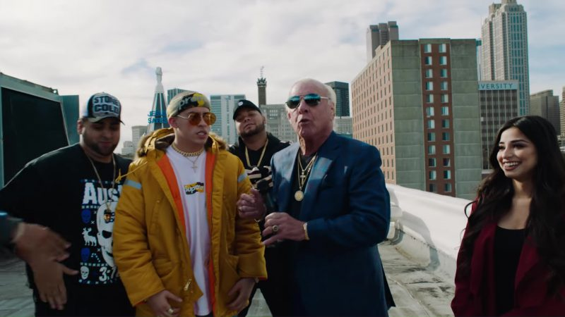 Supreme Headband, T-Shirt, Jacket and Pants Worn by Bad Bunny in Chambea (2017) Latin Music Video Product Placement