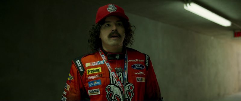 Sparco, Sunoco, Nascar, Prestone,  Singani 63, Allegiant Air, Goodyear, 5.11 Tactical, Ford, New Era Caps, CASE Construction Equipment in Logan Lucky (2017) Movie Product Placement