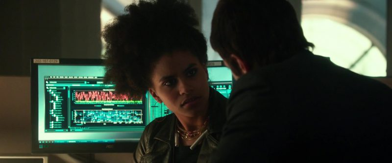 AOC Monitor Used by Zazie Beetz in Geostorm (2017) Movie Product Placement
