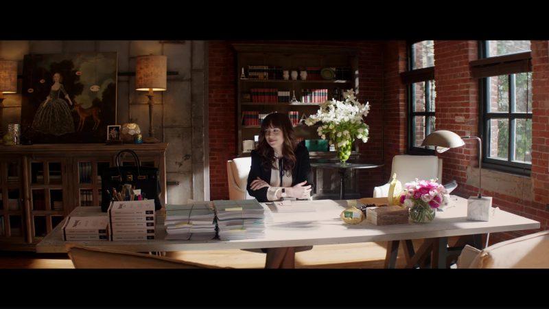 Derek Lam Blouse, Isabel Marant Blazer and Hermés Birkin Handbag Used by Dakota Johnson in Fifty Shades Freed (2018) Movie Product Placement